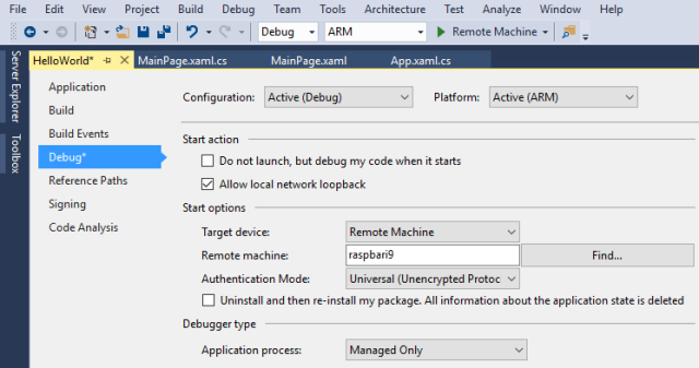 Hello IoT World - Remote device debug start options